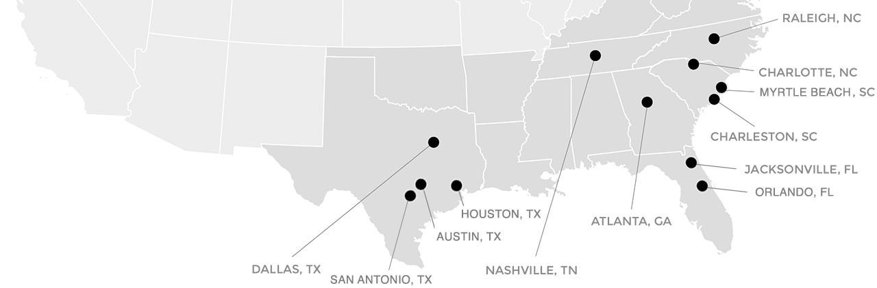 The Loving Companies Locations Map